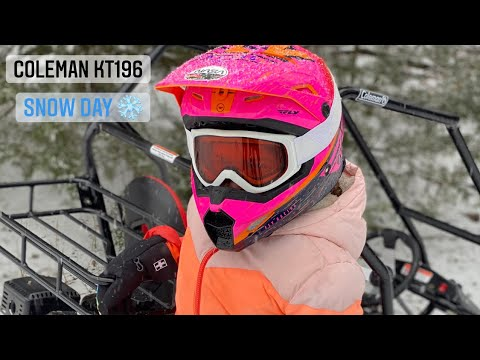 Coleman kt196 - can you go mudding and pull a sled with it? - tractor supply go-kart in the snow!