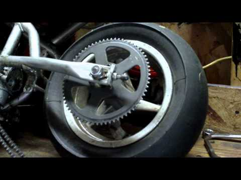 How to remove and replace chain and adjust chain tension on a mini pocket rocket bike